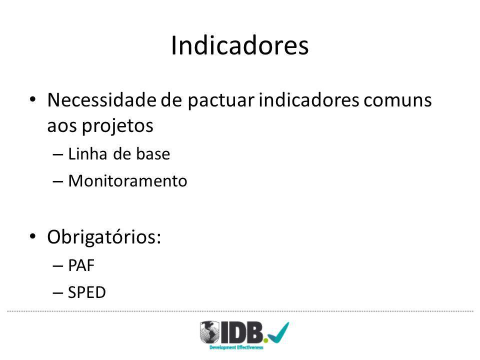 Indicadores Necessidade de pactuar indicadores comuns aos projetos – Linha de base – Monitoramento Obrigatórios: – PAF – SPED