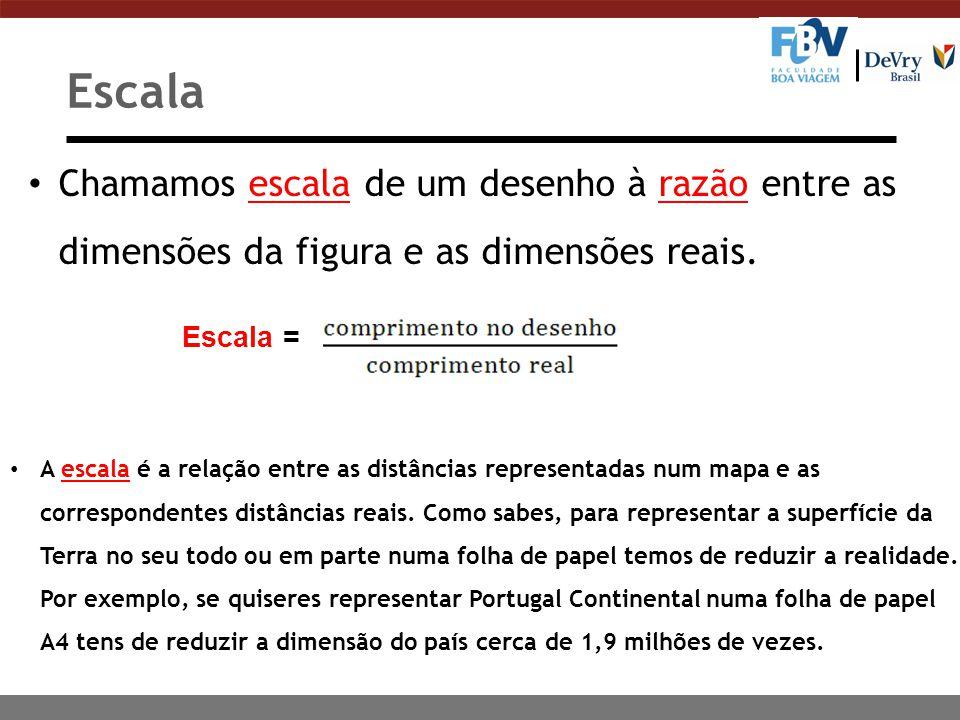 Chamamos escala de um desenho à razão entre as dimensões da figura e as dimensões reais.