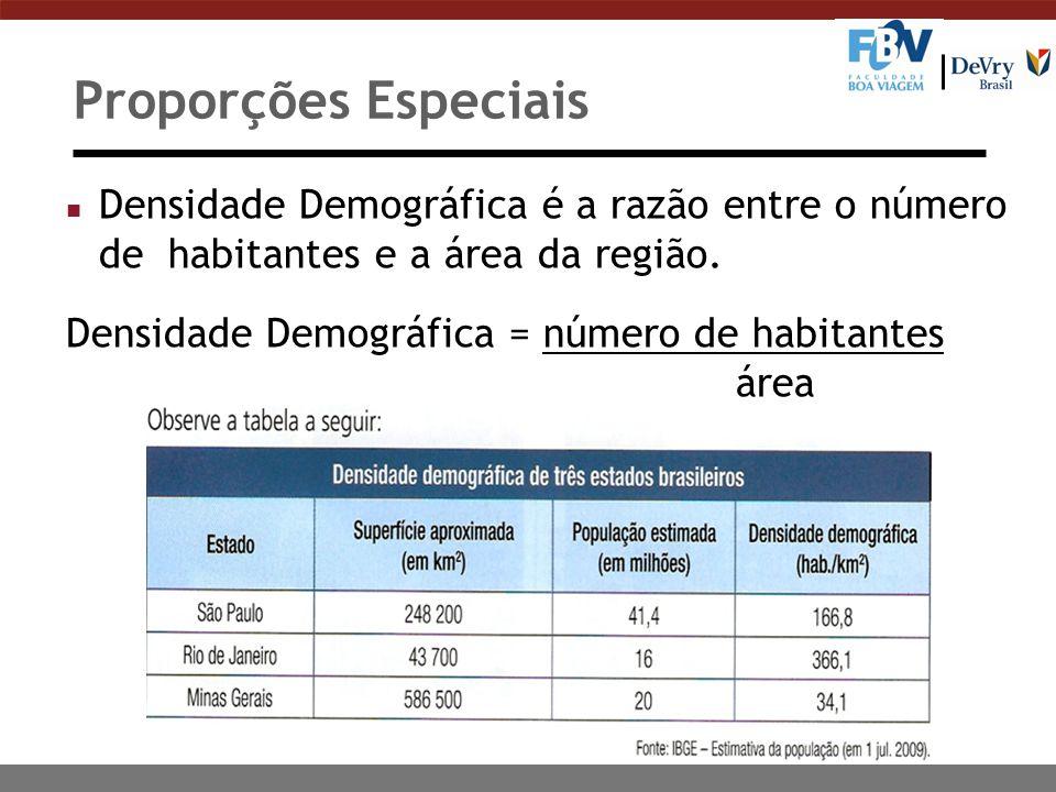 Proporções Especiais n Densidade Demográfica é a razão entre o número de habitantes e a área da região.