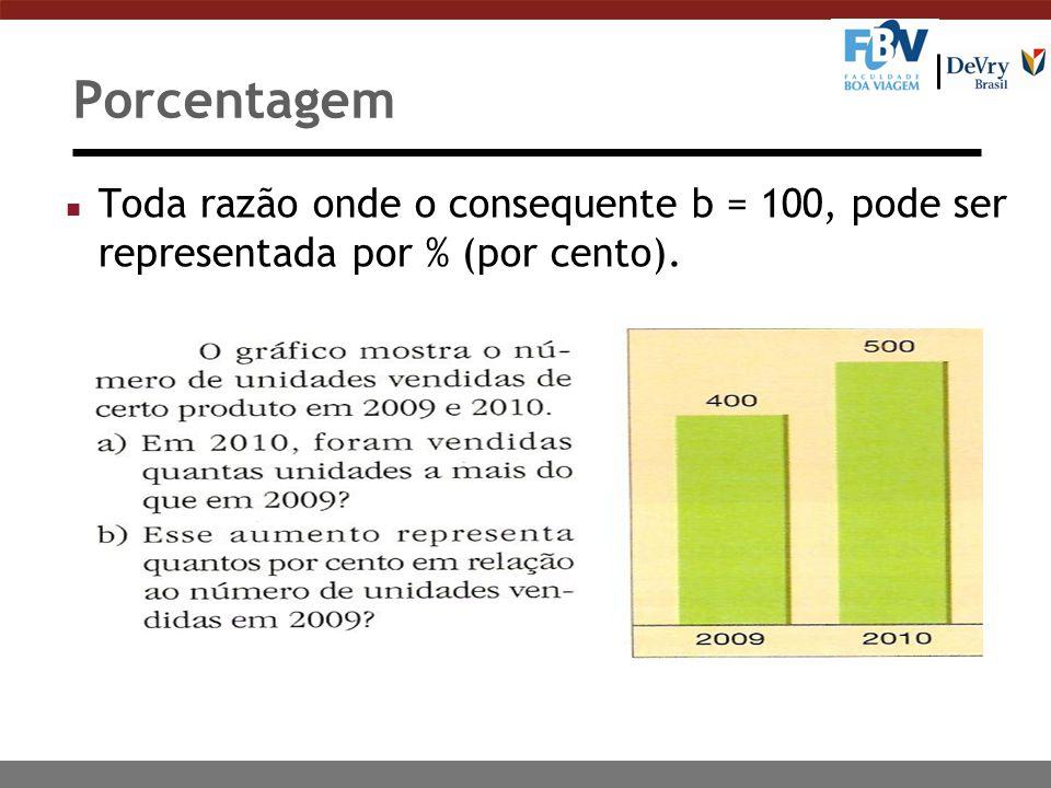 Porcentagem n Toda razão onde o consequente b = 100, pode ser representada por % (por cento).