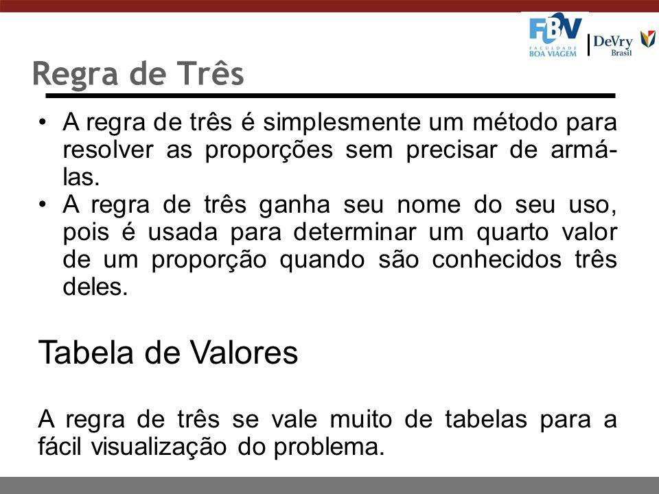 Regra de Três A regra de três é simplesmente um método para resolver as proporções sem precisar de armá- las.
