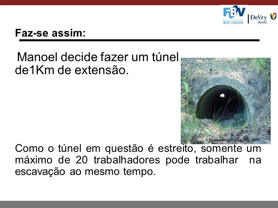 Faz-se assim: Manoel decide fazer um túnel de1Km de extensão.