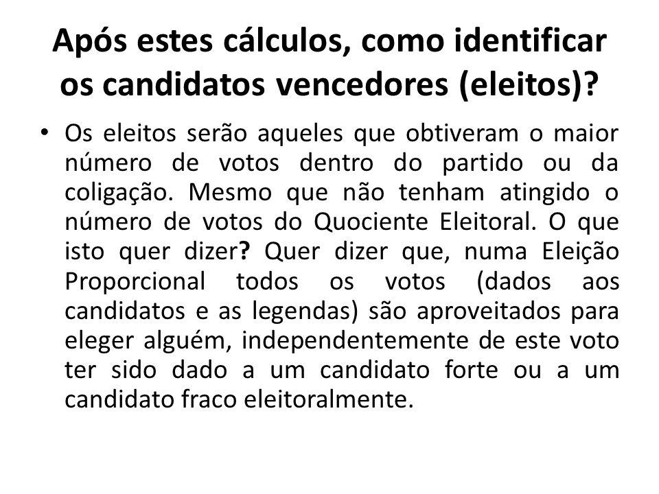 Após estes cálculos, como identificar os candidatos vencedores (eleitos)? Os eleitos serão aqueles que obtiveram o maior número de votos dentro do par