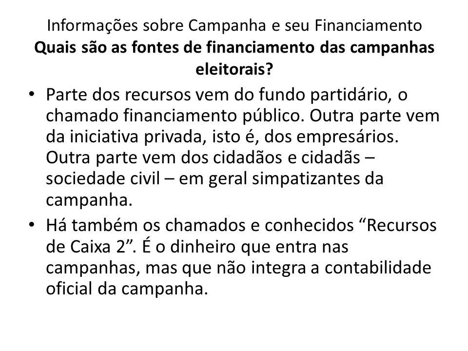 Informações sobre Campanha e seu Financiamento Quais são as fontes de financiamento das campanhas eleitorais? Parte dos recursos vem do fundo partidár
