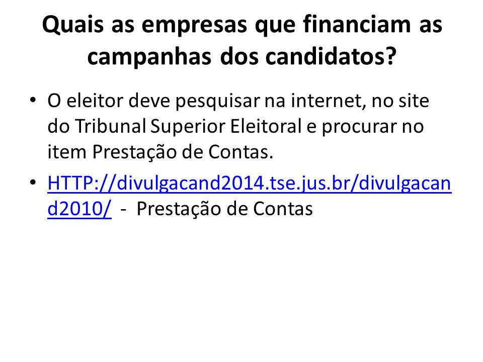 Quais as empresas que financiam as campanhas dos candidatos? O eleitor deve pesquisar na internet, no site do Tribunal Superior Eleitoral e procurar n