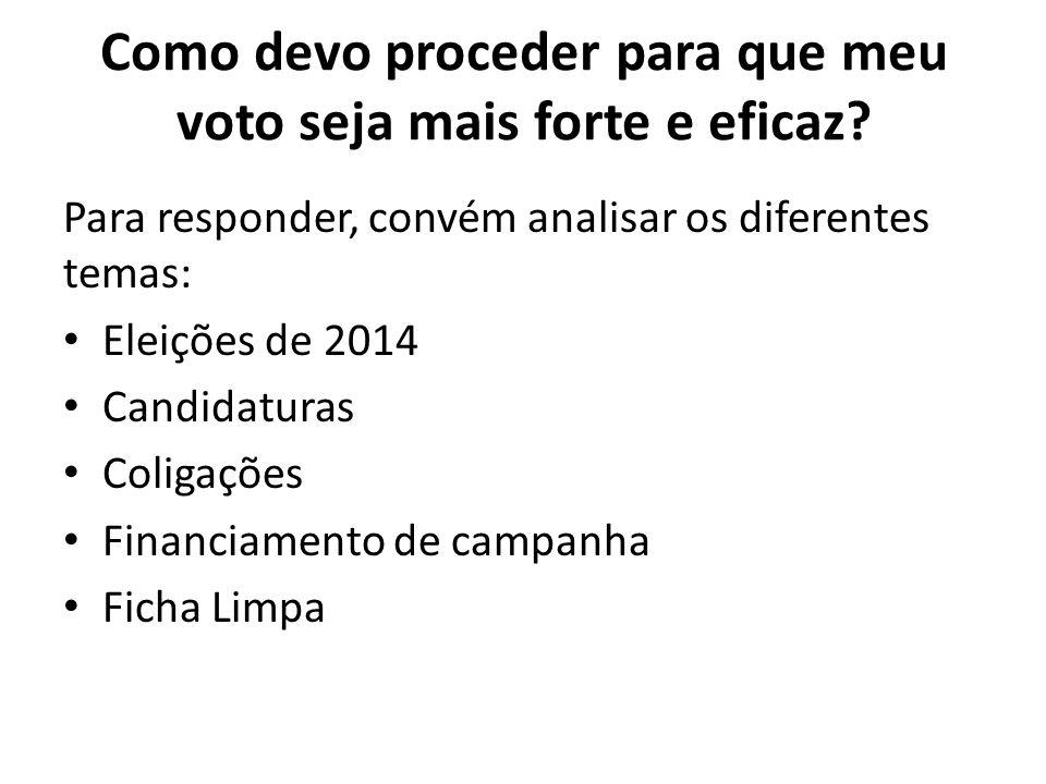 Como devo proceder para que meu voto seja mais forte e eficaz? Para responder, convém analisar os diferentes temas: Eleições de 2014 Candidaturas Coli