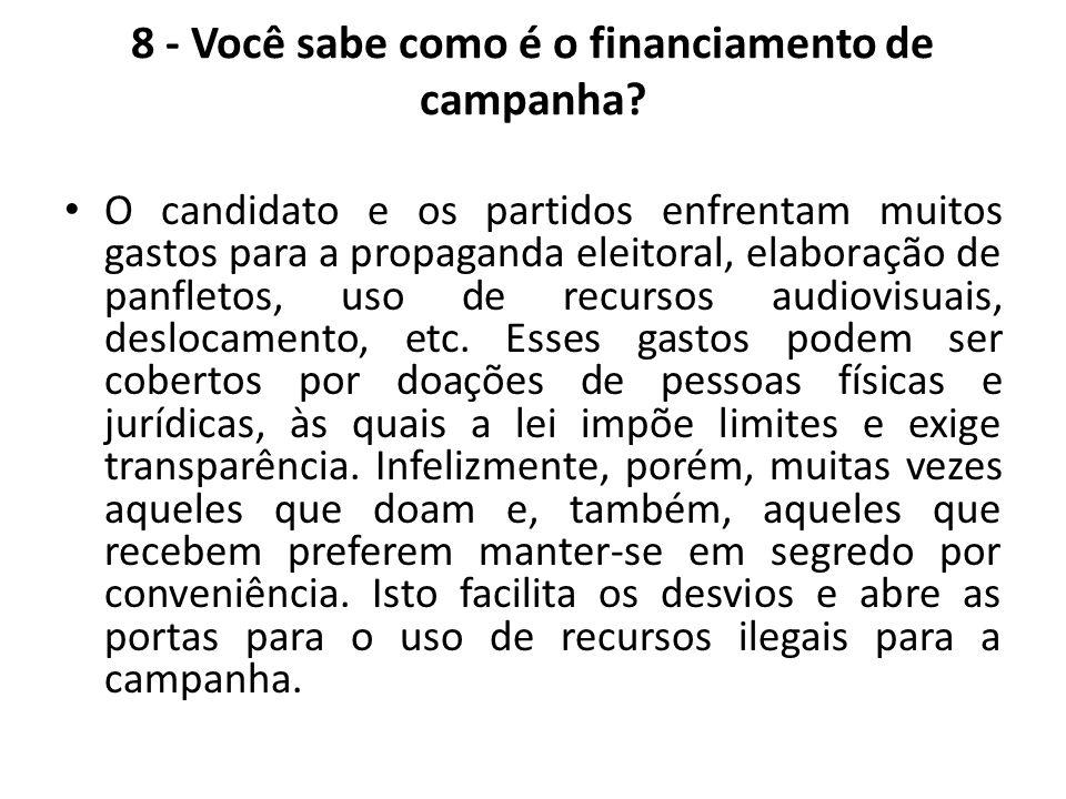 8 - Você sabe como é o financiamento de campanha? O candidato e os partidos enfrentam muitos gastos para a propaganda eleitoral, elaboração de panflet