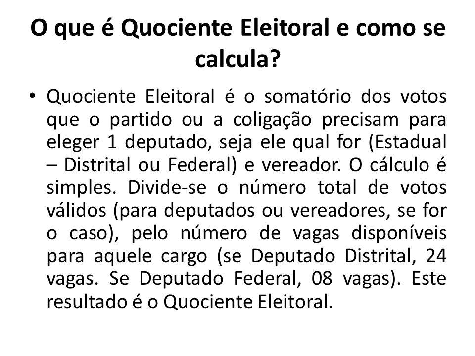 Nas Eleições de 2010 o Quociente Eleitoral no DF, para o cargo de Deputado Distrital foi de 55.361 votos e para Deputado Federal foi de 164.264 votos.