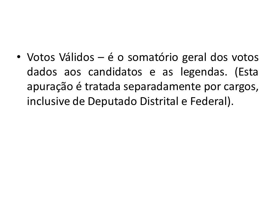 Votos Válidos – é o somatório geral dos votos dados aos candidatos e as legendas. (Esta apuração é tratada separadamente por cargos, inclusive de Depu