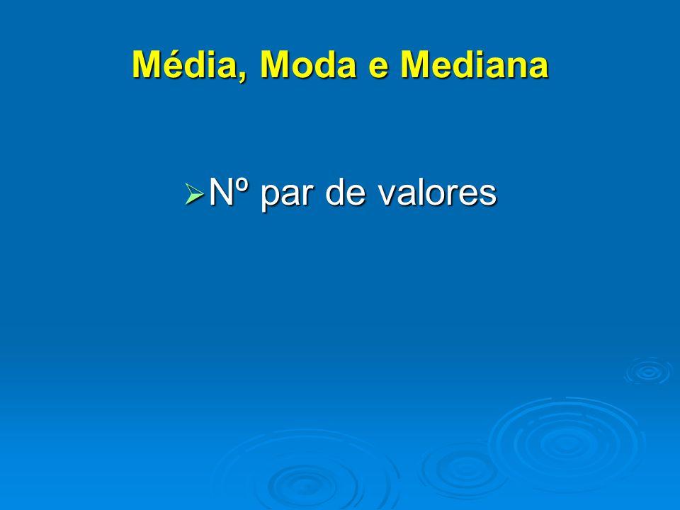  Nº par de valores Média, Moda e Mediana