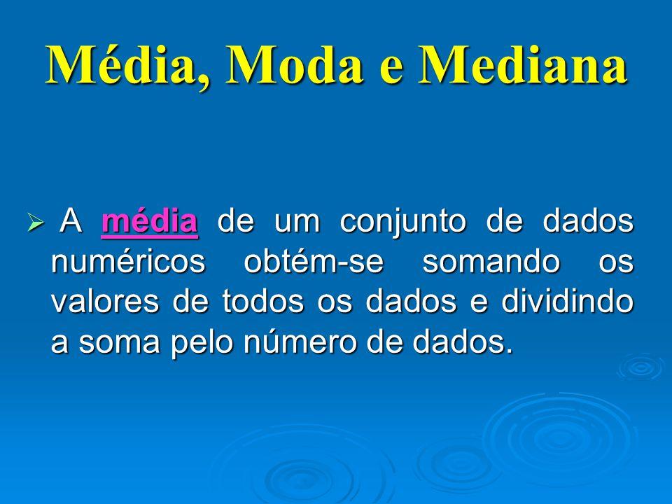  A média de um conjunto de dados numéricos obtém-se somando os valores de todos os dados e dividindo a soma pelo número de dados. Média, Moda e Media
