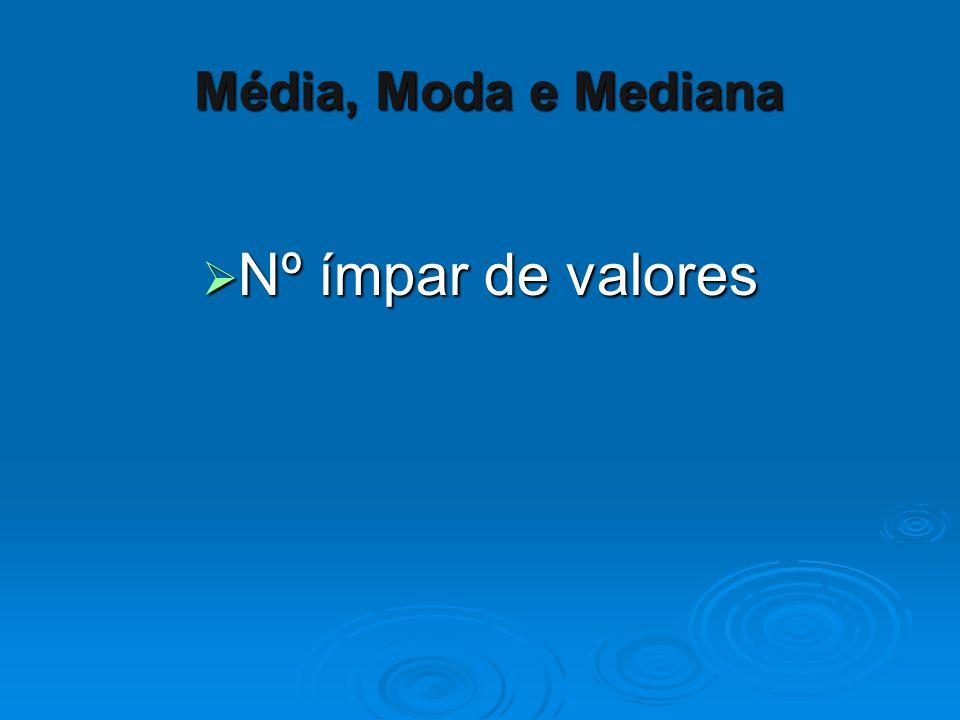  Nº ímpar de valores Média, Moda e Mediana