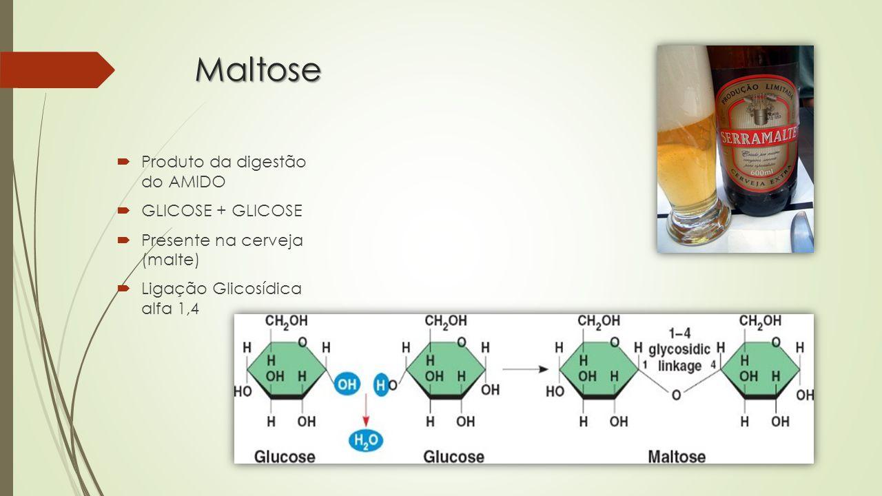 Celobiose  Proveniente da quebra da CELULOSE  Ligação Glicosídica Beta 1,4  Incapacidade digestiva pelos animais  Digestão feita pela microbiota intestinal ( MUTUALISMO )