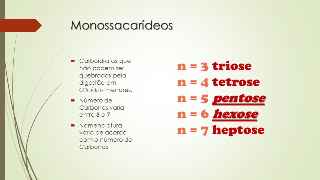 Monossacarídeos  Carboidratos que não podem ser quebrados pela digestão em Glicídios menores.