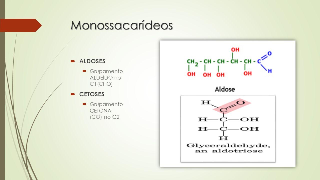 Monossacarídeos  ALDOSES  Grupamento ALDEÍDO no C1(CHO)  CETOSES  Grupamento CETONA (CO) no C2