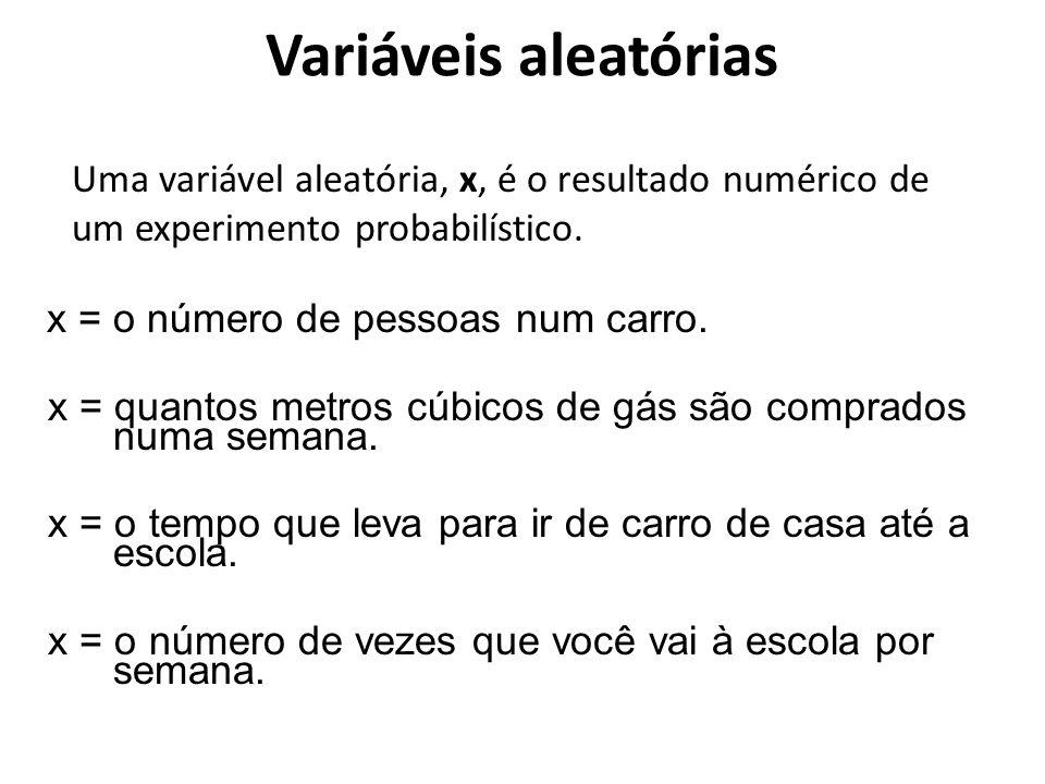 Uma variável aleatória, x, é o resultado numérico de um experimento probabilístico. x = o número de pessoas num carro. x = quantos metros cúbicos de g