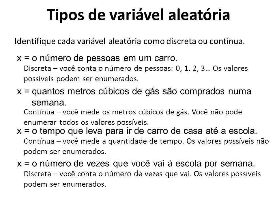 Uma distribuição discreta de probabilidade enumera cada valor possível da variável aleatória, bem como sua probabilidade.