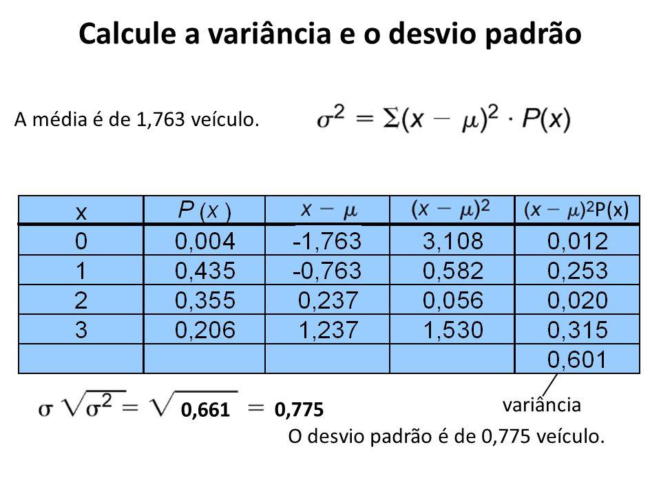 Calcule a variância e o desvio padrão O desvio padrão é de 0,775 veículo. A média é de 1,763 veículo. variância μμ P(x)P(x) 0,661 0,775