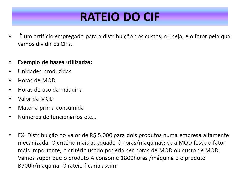 Taxa de absorção dos CIFs : Valor dos CIFs = 5.0000_= 2 por hora Critério de rateio 1800+ 700 PRODUTO A- 1800 x 2 = 3600 PRODUTO B- 700 x 2 = 1400 EX: O departamento X de produção possui um custo indireto total de $5.400.000 e precisa distribuí-los a dois produtos, M e N.