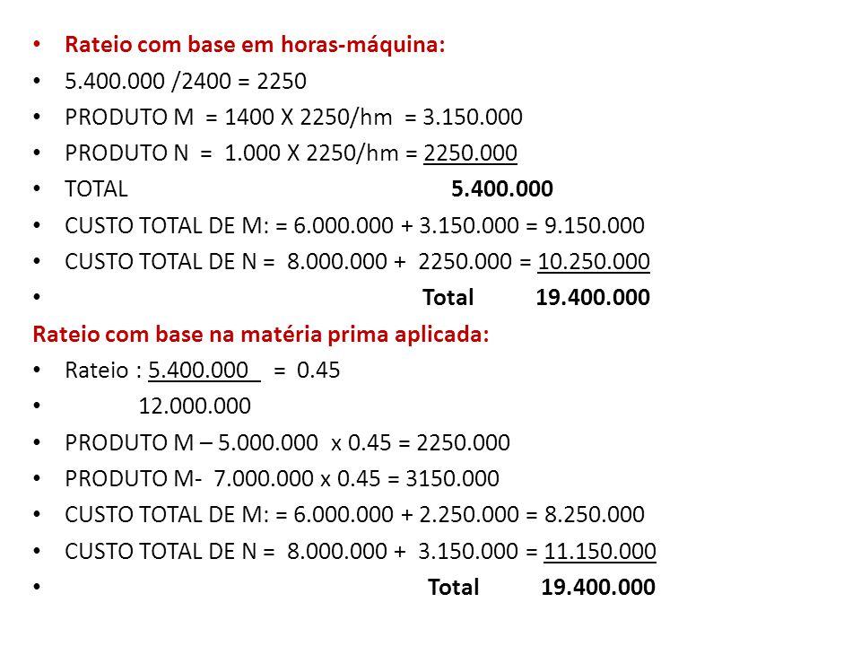 Rateio com base no custo direto total: Rateio : 5.400.000_ = 0.386 14.000.000 PRODUTO M – 6.000.000 x 0.386 = 2314.285 PRODUTO M- 8.000.000 x 0.386 = 3085.714 CUSTO TOTAL DE M: = 6.000.000 + 2314.286 = 8.314,286 CUSTO TOTAL DE N = 8.000.000 + 3085.714 = 11.085,714 Total 19.400.000
