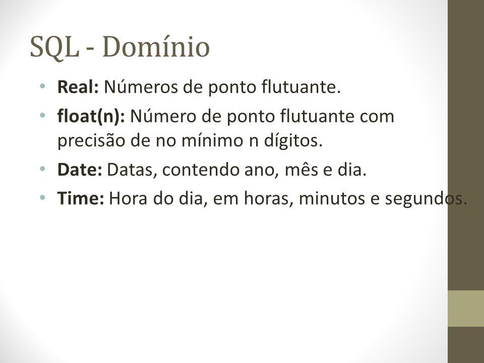 SQL - Domínio Real: Números de ponto flutuante. float(n): Número de ponto flutuante com precisão de no mínimo n dígitos. Date: Datas, contendo ano, mê