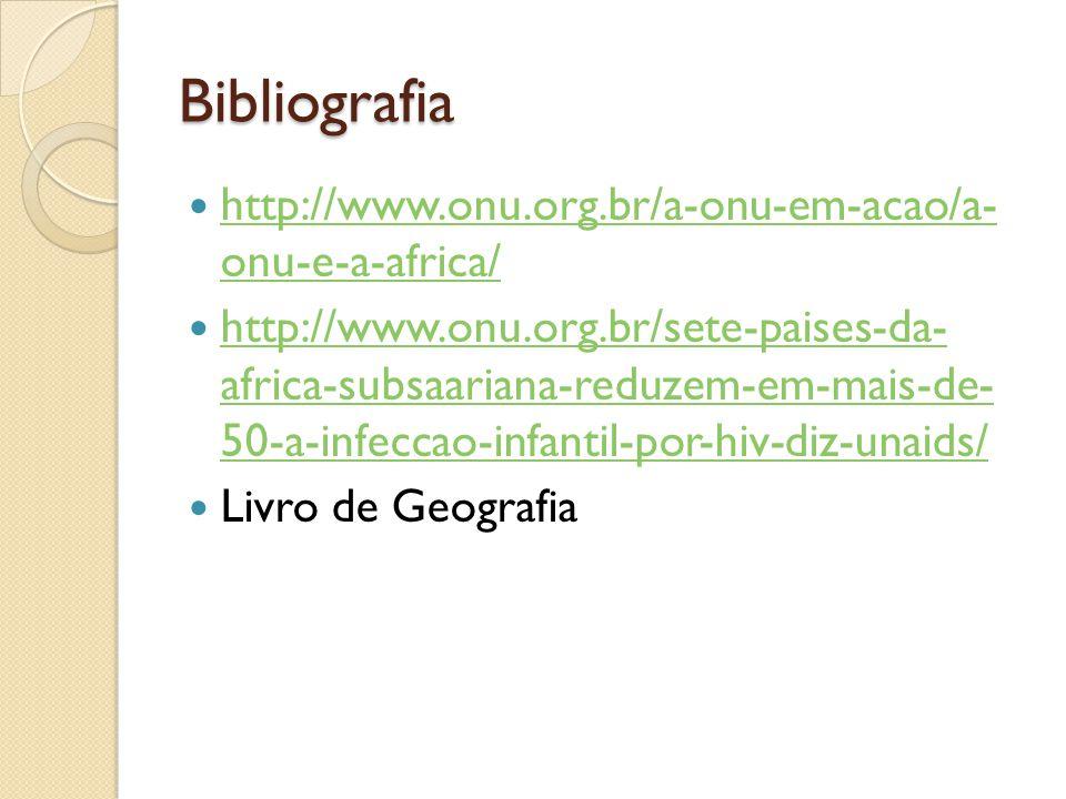 Bibliografia http://www.onu.org.br/a-onu-em-acao/a- onu-e-a-africa/ http://www.onu.org.br/a-onu-em-acao/a- onu-e-a-africa/ http://www.onu.org.br/sete-