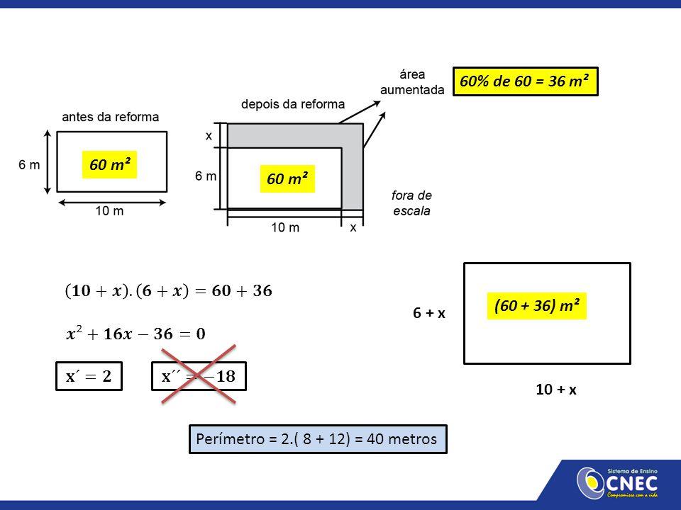 60 m² 60% de 60 = 36 m² 60 m² Perímetro = 2.( 8 + 12) = 40 metros 10 + x 6 + x (60 + 36) m²