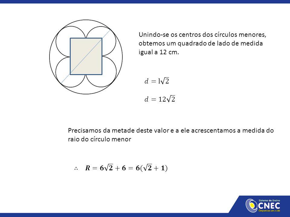 Unindo-se os centros dos círculos menores, obtemos um quadrado de lado de medida igual a 12 cm. Precisamos da metade deste valor e a ele acrescentamos