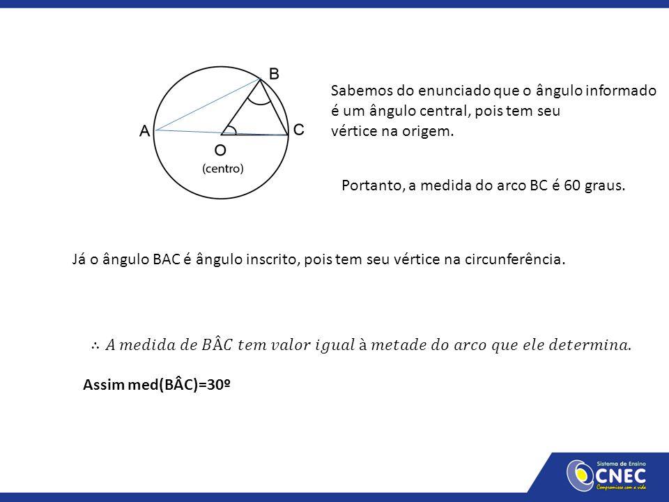 Sabemos do enunciado que o ângulo informado é um ângulo central, pois tem seu vértice na origem. Portanto, a medida do arco BC é 60 graus. Já o ângulo