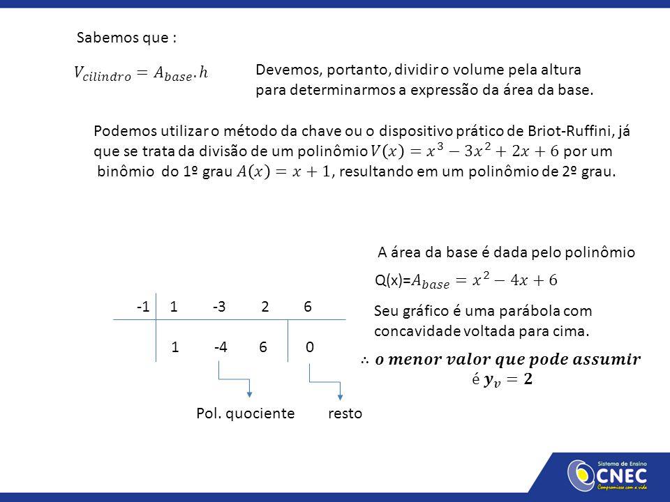 Sabemos que : Devemos, portanto, dividir o volume pela altura para determinarmos a expressão da área da base. -1 1 -3 2 6 1 -4 6 0 Pol. quociente rest