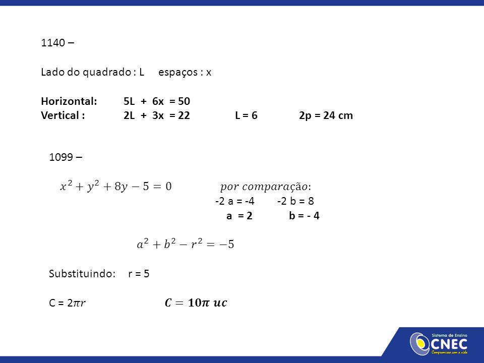 1140 – Lado do quadrado : L espaços : x Horizontal: 5L + 6x = 50 Vertical : 2L + 3x = 22 L = 6 2p = 24 cm
