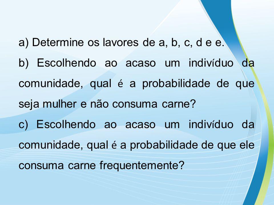 a) Determine os lavores de a, b, c, d e e.