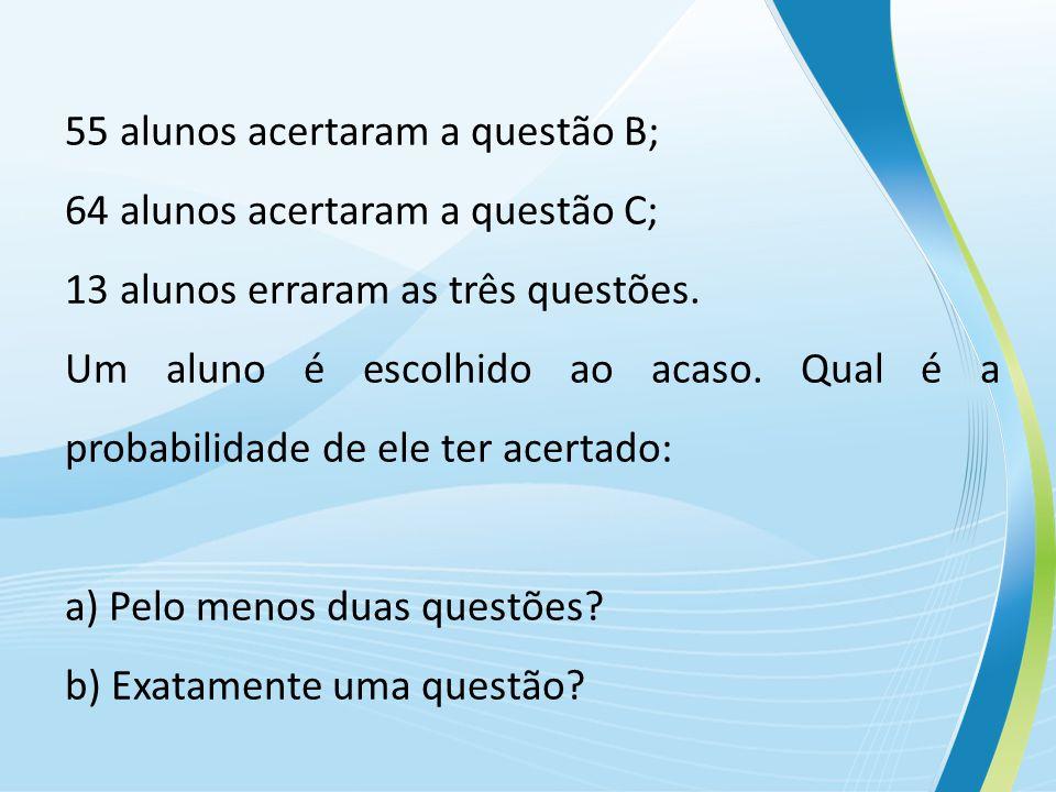 55 alunos acertaram a questão B; 64 alunos acertaram a questão C; 13 alunos erraram as três questões.