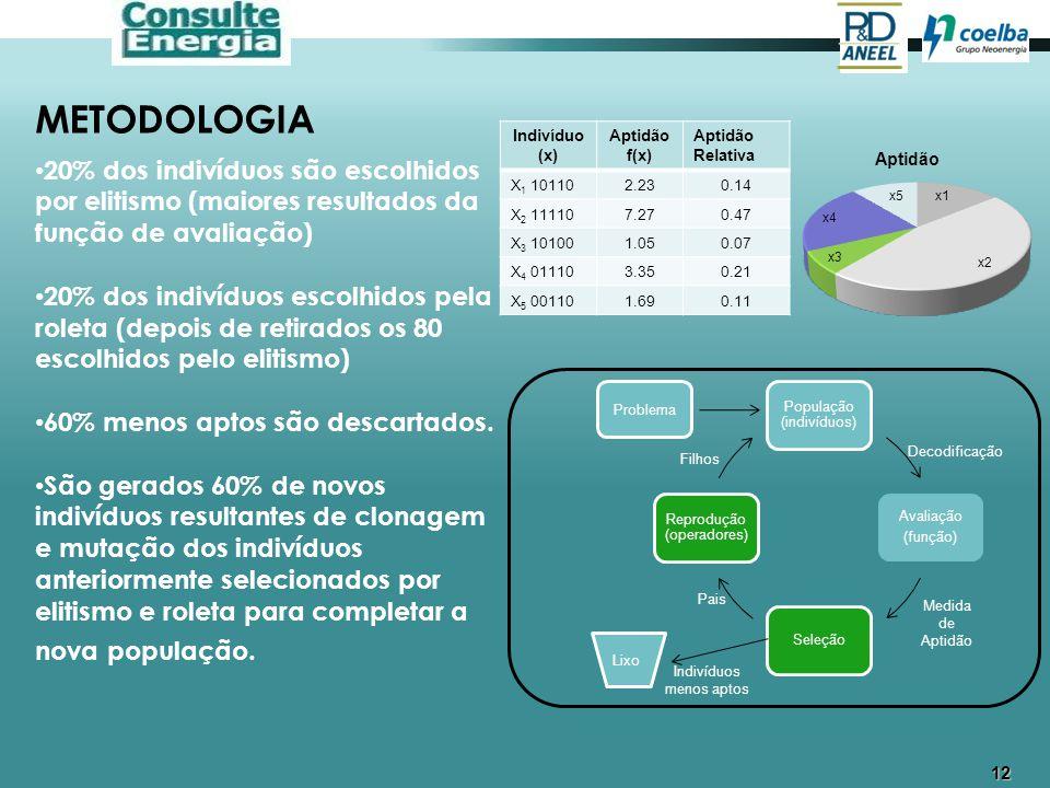12 METODOLOGIA 20% dos indivíduos são escolhidos por elitismo (maiores resultados da função de avaliação) 20% dos indivíduos escolhidos pela roleta (d