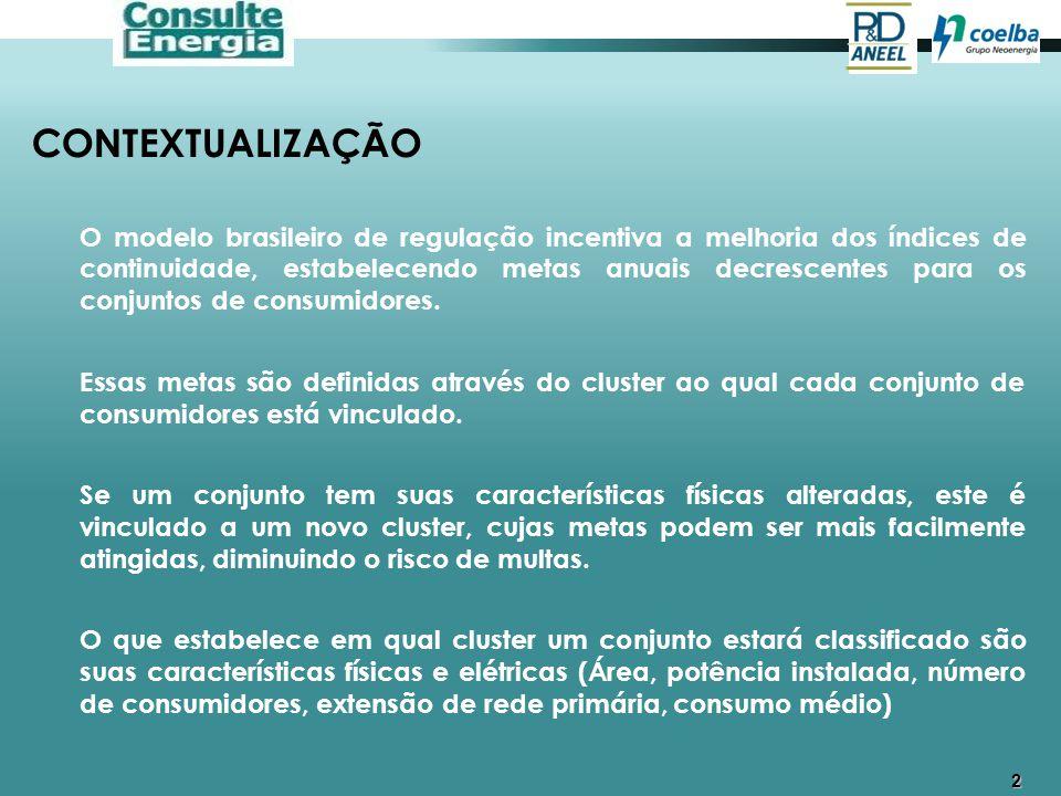 3 CONTEXTUALIZAÇÃO A COELBA foi dividida em 419 conjuntos que foram comparados com os diversos conjuntos das outras concessionárias do Brasil e classificados em 30 clusters.