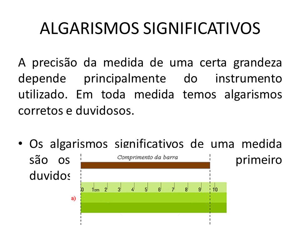 ALGARISMOS SIGNIFICATIVOS A precisão da medida de uma certa grandeza depende principalmente do instrumento utilizado. Em toda medida temos algarismos