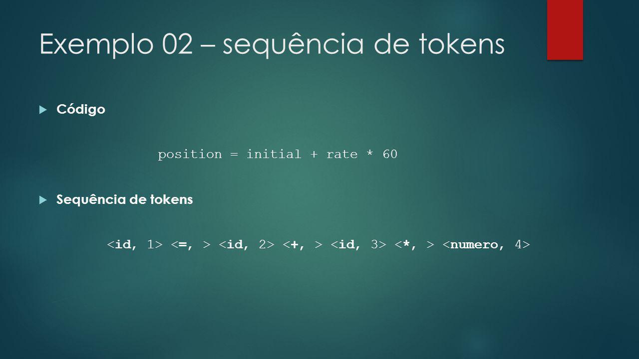 Exemplo 02 – sequência de tokens  Código position = initial + rate * 60  Sequência de tokens