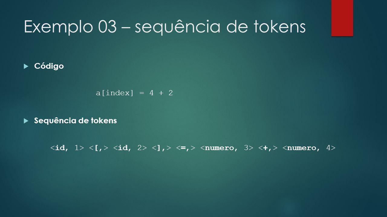 Exemplo 03 – sequência de tokens  Código a[index] = 4 + 2  Sequência de tokens