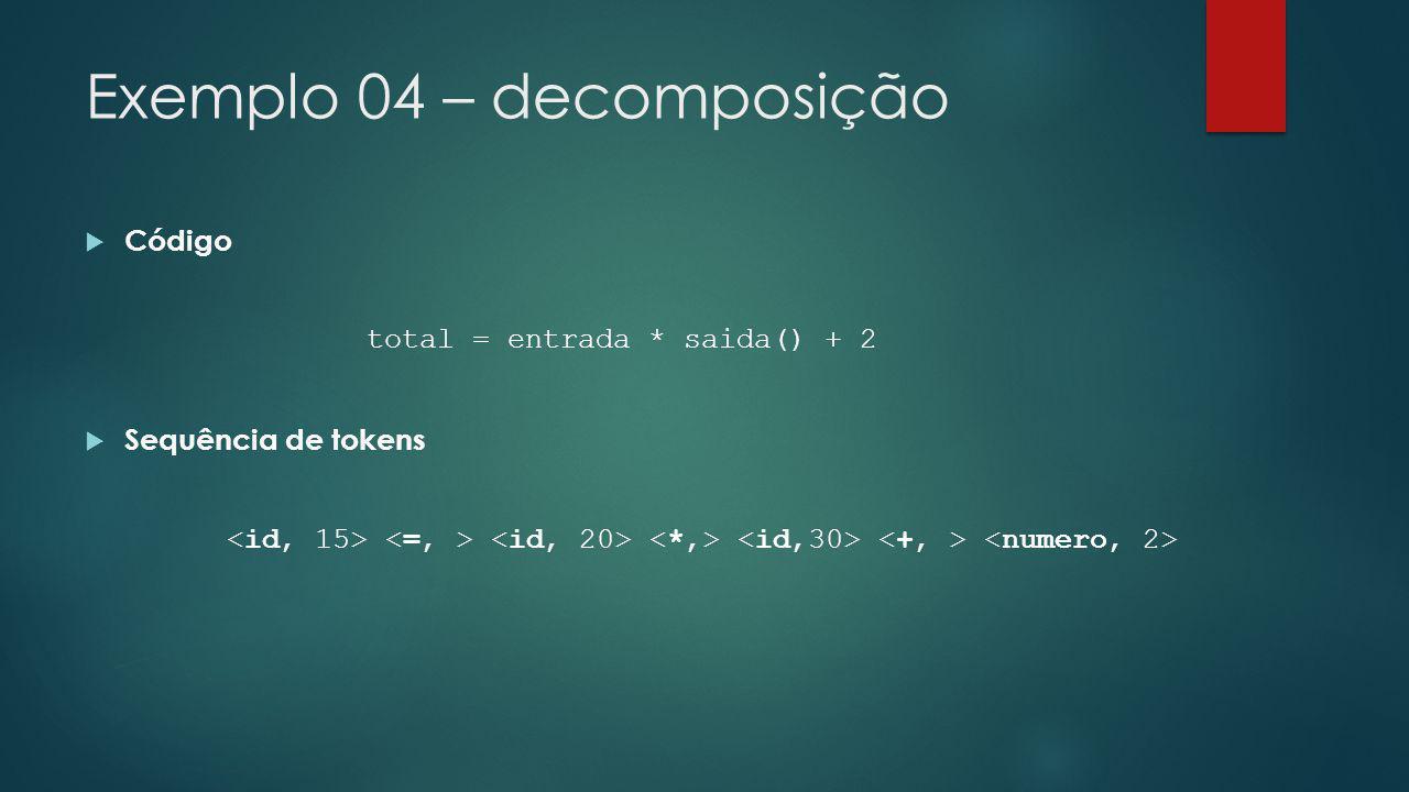 Exemplo 04 – decomposição  Código total = entrada * saida() + 2  Sequência de tokens
