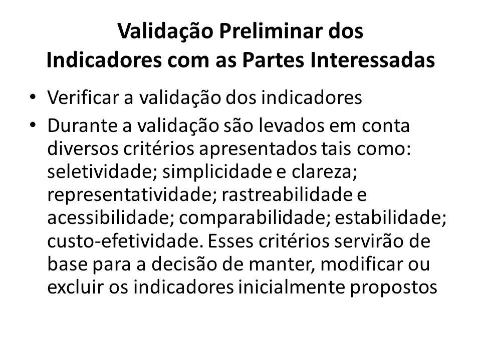 Validação Preliminar dos Indicadores com as Partes Interessadas Verificar a validação dos indicadores Durante a validação são levados em conta diverso