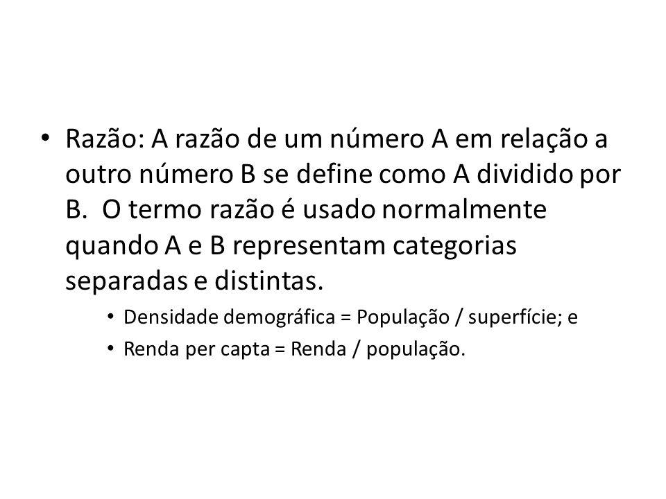 Razão: A razão de um número A em relação a outro número B se define como A dividido por B. O termo razão é usado normalmente quando A e B representam