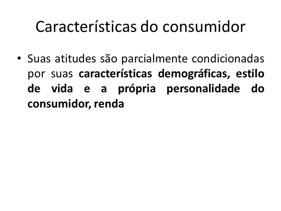 Características do consumidor Suas atitudes são parcialmente condicionadas por suas características demográficas, estilo de vida e a própria personali