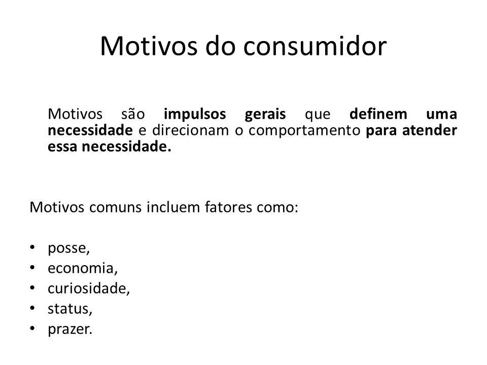 Motivos do consumidor Motivos são impulsos gerais que definem uma necessidade e direcionam o comportamento para atender essa necessidade. Motivos comu
