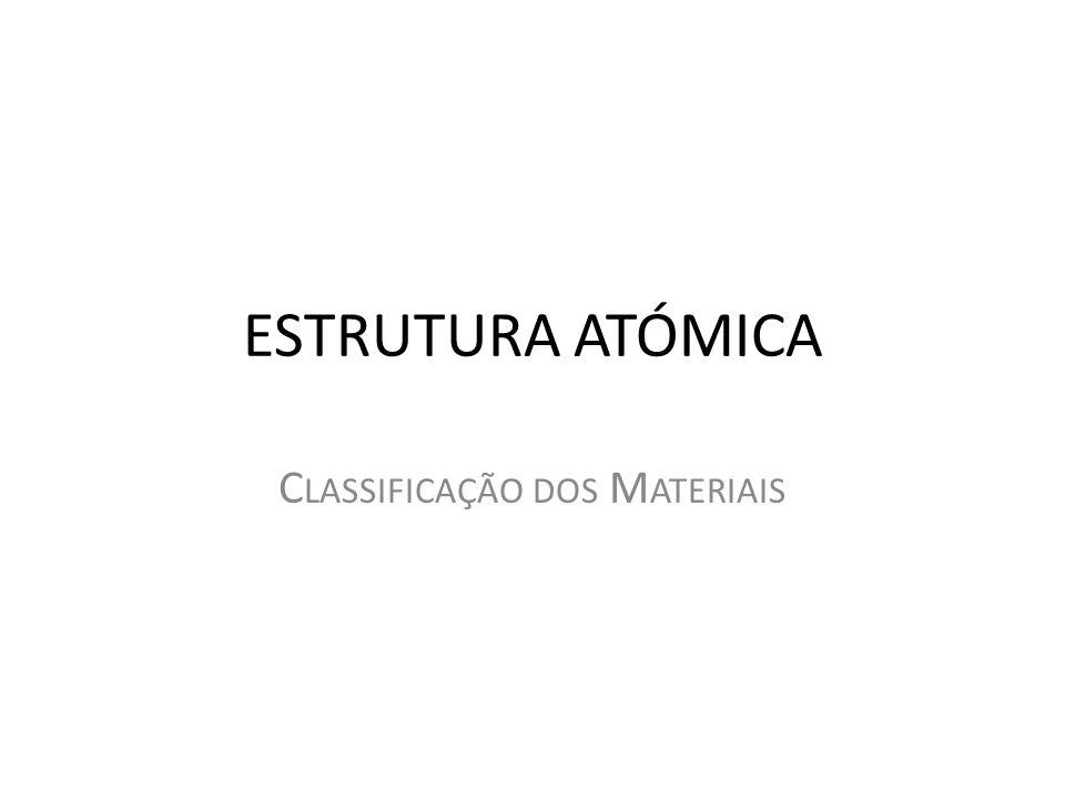 ESTRUTURA ATÓMICA C LASSIFICAÇÃO DOS M ATERIAIS