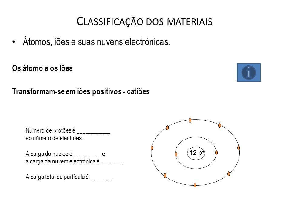 C LASSIFICAÇÃO DOS MATERIAIS Átomos, iões e suas nuvens electrónicas. Os átomo e os Iões Transformam-se em iões positivos - catiões 12 p + Número de p