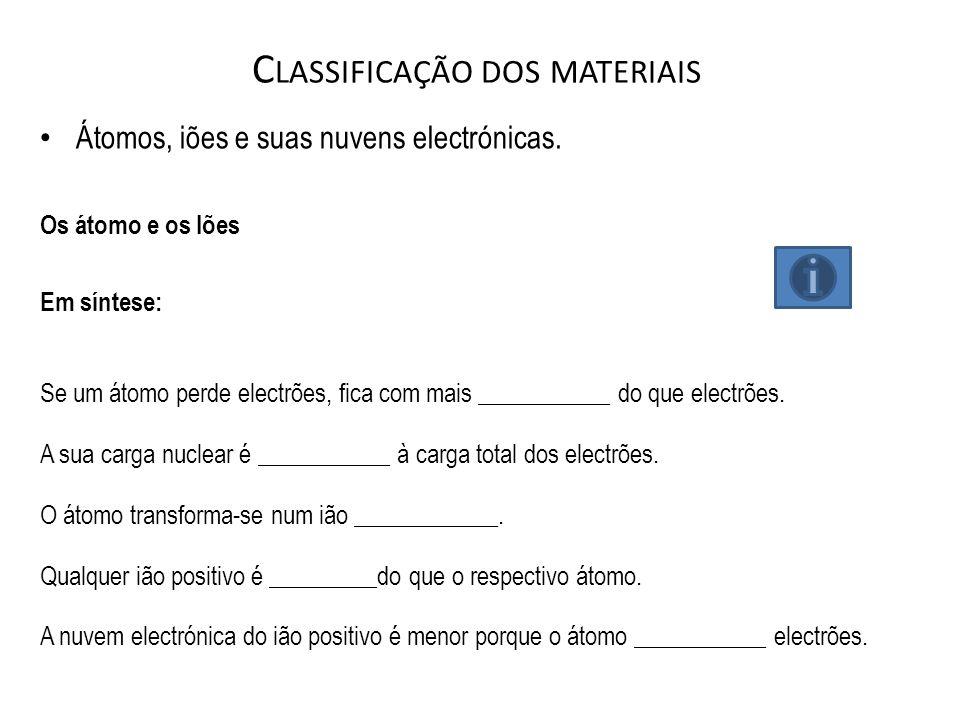 C LASSIFICAÇÃO DOS MATERIAIS Átomos, iões e suas nuvens electrónicas. Os átomo e os Iões Em síntese: Se um átomo perde electrões, fica com mais ______