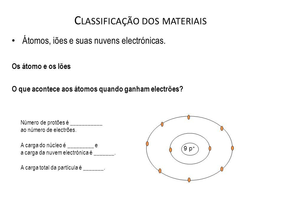 C LASSIFICAÇÃO DOS MATERIAIS Átomos, iões e suas nuvens electrónicas. Os átomo e os Iões O que acontece aos átomos quando ganham electrões? 9 p + Núme