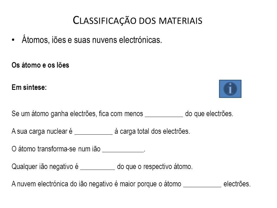 C LASSIFICAÇÃO DOS MATERIAIS Átomos, iões e suas nuvens electrónicas. Os átomo e os Iões Em síntese: Se um átomo ganha electrões, fica com menos _____