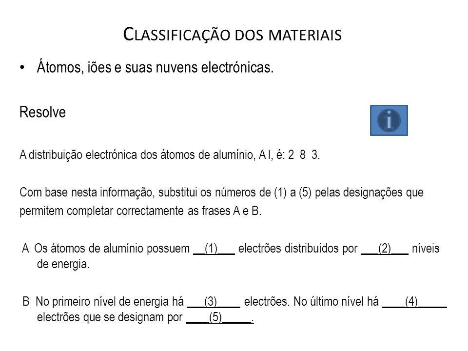 C LASSIFICAÇÃO DOS MATERIAIS Átomos, iões e suas nuvens electrónicas. Resolve A distribuição electrónica dos átomos de alumínio, A l, é: 2  8  3. Co