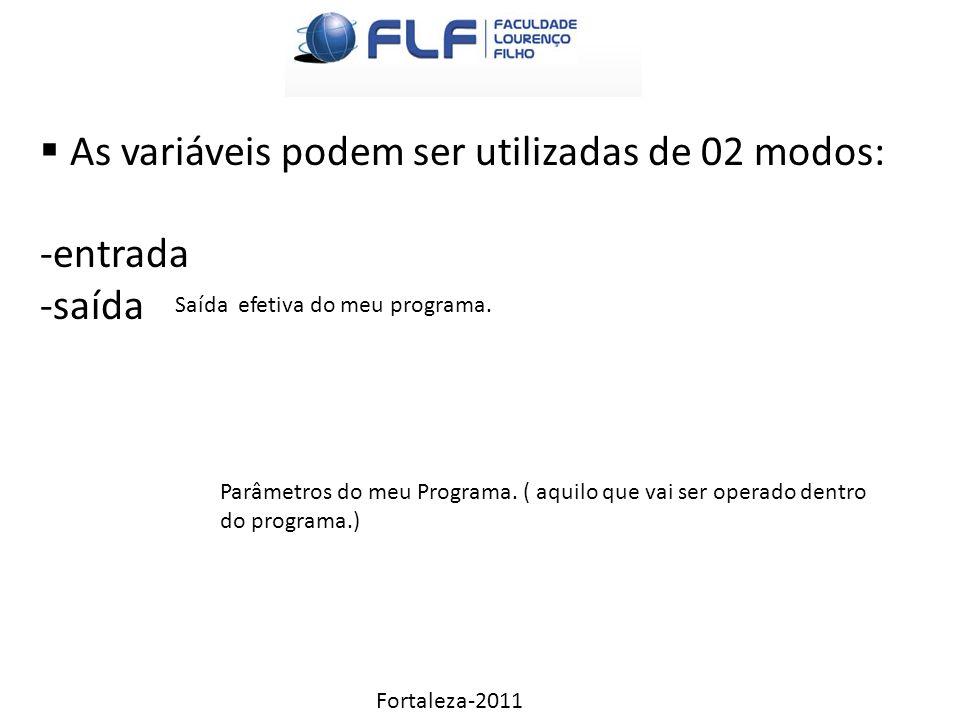 Fortaleza-2011  As variáveis podem ser utilizadas de 02 modos: -entrada -saída Parâmetros do meu Programa.